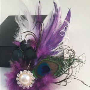 Purple feathee hair clip fascinator for sale